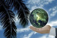 Conceito da terra e da mão fotos de stock royalty free