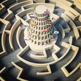 Conceito da torre de Babel Fotos de Stock Royalty Free
