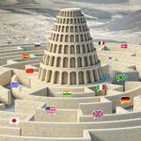 Conceito da torre de Babel ilustração royalty free