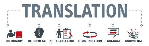 Conceito da tradução da bandeira com ícones ilustração do vetor
