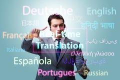 Conceito da tradução do tempo real da língua estrangeira imagem de stock
