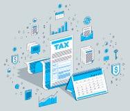 Conceito da tributação, formulário de imposto ou documento jurídico da folha do papel com Ca ilustração royalty free