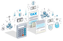 Conceito da tributação, formulário de imposto ou documento jurídico da folha do papel com Ca ilustração do vetor