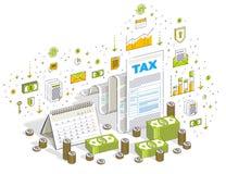 Conceito da tributação, formulário de imposto ou documento jurídico de papel com dinheiro segunda-feira ilustração do vetor