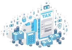 Conceito da tributação, formulário de imposto ou documento jurídico de papel com dinheiro segunda-feira ilustração stock