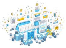 Conceito da tributação, formulário de imposto ou documento jurídico de papel com dinheiro segunda-feira ilustração royalty free