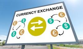 Conceito da troca de moeda em um quadro de avisos imagens de stock
