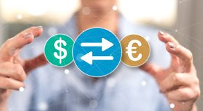 Conceito da troca de moeda imagem de stock royalty free