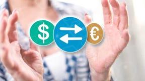 Conceito da troca de moeda imagem de stock