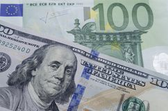 Conceito da troca de moeda EURO aos dólares Imagem de Stock Royalty Free