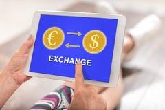 Conceito da troca em uma tabuleta imagem de stock royalty free