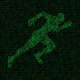 Conceito da velocidade de transferência de dados silhueta do corredor no fundo binário Fotos de Stock Royalty Free