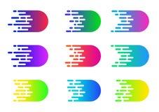 Conceito da velocidade Efeito da banda desenhada do movimento do vetor Linhas simples coloridas da velocidade ilustração stock