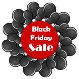 Conceito da venda de Black Friday com balões pretos Fotos de Stock