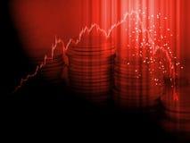 Conceito da venda do pânico da carta do mercado de valores de ação A vela vermelha cola a queda dos preços do pico da batida do g imagens de stock royalty free