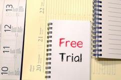Conceito da versão de avaliação gratuita no caderno Imagem de Stock