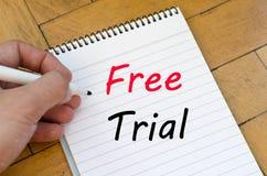 Conceito da versão de avaliação gratuita no caderno Imagens de Stock