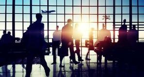 Conceito da viagem de negócios do curso do terminal de aeroporto internacional Fotografia de Stock