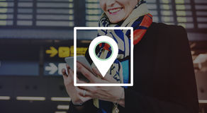 Conceito da viagem de Pin Marker Travel Destination Location Foto de Stock