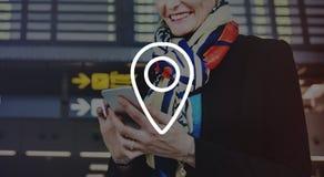Conceito da viagem de Pin Marker Travel Destination Location Fotos de Stock