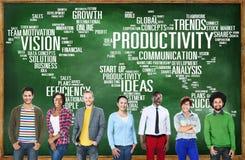Conceito da visão do mundo do negócio da estratégia da missão da produtividade Fotografia de Stock Royalty Free