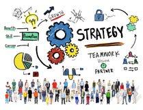 Conceito da visão do crescimento dos trabalhos de equipa das táticas da solução da estratégia Foto de Stock Royalty Free