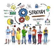 Conceito da visão do crescimento dos trabalhos de equipa das táticas da solução da estratégia Fotos de Stock