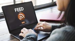 Conceito da Web da tecnologia de Internet da alimentação RSS Imagem de Stock