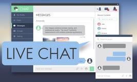 Conceito da Web de Live Chat Chatting Communication Digital ilustração do vetor