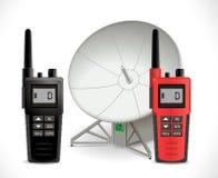 Conceito das comunicações satélites - rádio do Walkietalkie ilustração stock