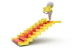conceito das escadas do ano novo do homem 3d Imagens de Stock Royalty Free