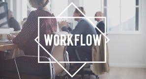 Conceito das etapas da estratégia de organização do sucesso do fluxo de trabalho foto de stock royalty free