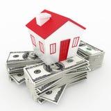 Conceito das finanças do dinheiro e da casa ilustração stock