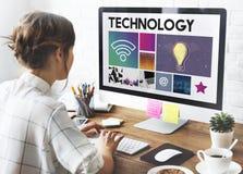Conceito das ideias da rede do Cyberspace da tecnologia imagem de stock