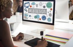 Conceito das ilustrações de Digitas da tecnologia de design web Fotografia de Stock