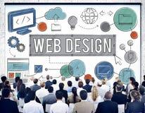 Conceito das ilustrações de Digitas da tecnologia de design web Imagens de Stock
