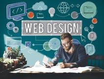 Conceito das ilustrações de Digitas da tecnologia de design web fotos de stock