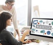 Conceito das ilustrações de Digitas da tecnologia de design web Imagem de Stock