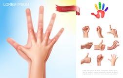 Conceito das mãos da criança e do pai ilustração stock