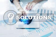 Conceito das soluções do negócio na tela virtual Fotografia de Stock
