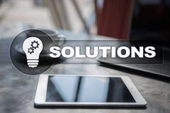 Conceito das soluções do negócio na tela virtual Imagens de Stock Royalty Free