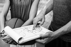 Conceito das táticas do plano do esporte do jogador de basquetebol Fotos de Stock Royalty Free