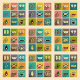 Conceito de ícones lisos com carnaval longo do brasileiro da sombra Fotos de Stock Royalty Free