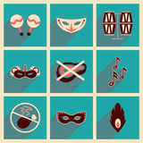 Conceito de ícones lisos com carnaval longo do brasileiro da sombra Foto de Stock Royalty Free