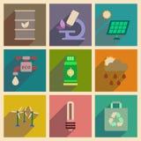 Conceito de ícones lisos com ecologia longa da sombra Imagens de Stock