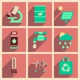 Conceito de ícones lisos com ecologia longa da sombra Foto de Stock Royalty Free