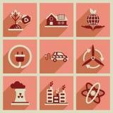 Conceito de ícones lisos com ecologia longa da sombra Fotografia de Stock Royalty Free