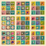 Conceito de ícones lisos com espaço longo da sombra Imagens de Stock