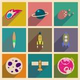 Conceito de ícones lisos com espaço longo da sombra Fotografia de Stock Royalty Free