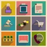 Conceito de ícones lisos com julgamento longo da sombra Imagens de Stock Royalty Free